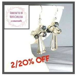💋Sterling Silver Earrings Champagne Crystal Chic
